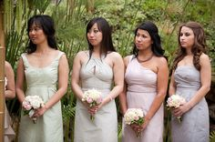 Pastel selection of bride's maid dresses