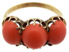 A lovely well matched coral ring. It is a good strong look and if you love coral I would recommend this ring. Coral Ring, Turquoise Jewelry, Art Carved, Free Ring, Coral Turquoise, Jewelry Companies, Antique Jewelry, Gold Rings, Victorian