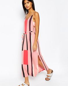 #NewYear #ASOS - #ASOS ASOS Tab Side Maxi Dress in Block Print - Pink - AdoreWe.com