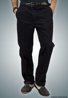 """Bien Habille IRONEEZEE Navy Blue """"Smart Fit"""" Wrinkle Free 100% Cotton Trouser Permanent Crease #men #style #fashion #menswear #Pants #Jeans #trousers #onlinemela www.onlinemela.pk Order Now: +92-334-333-6352"""
