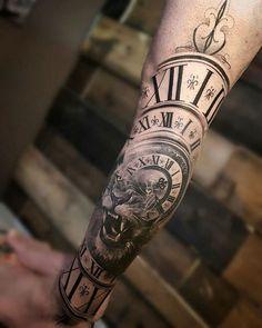 Clock & Lion Morph - - Tattoo - Tattoo Designs For Women Trendy Tattoos, Sexy Tattoos, Body Art Tattoos, Tattoos For Guys, Tattoos For Women, Clock Tattoo Sleeve, Arm Sleeve Tattoos, Forearm Tattoos, Clock Tattoos