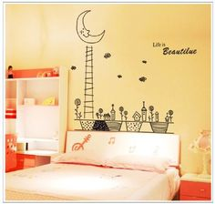 wall stickers - Life is Beautiful Quote Tall Ladder to Moon with Flowers and Houses Wall Decal Home Decor Sticker