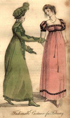 Regency Era Clothing: Regency Era Fashion Plate - February 1815 Ladies' Monthly Museum. Full description from magazine at link