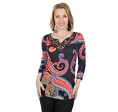 Cable and Gauge Print Top with Jewelled Yoke