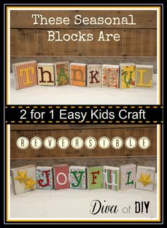 These Reversible Blocks are a easy craft for kids and can be used for two holidays!