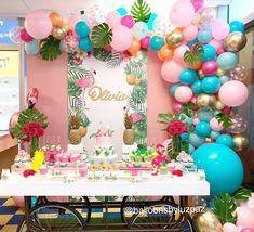 No photo description available. 13th Birthday Parties, Luau Birthday, Birthday Party Themes, Flamingo Birthday, Flamingo Party, Bridal Shower Balloons, Girl Birthday Decorations, Tropical Party, Balloon Garland