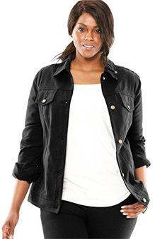 9080e5dcbe9 Jessica London Womens Plus Size Classic Cotton Denim Jacket Black24   gt  gt  gt