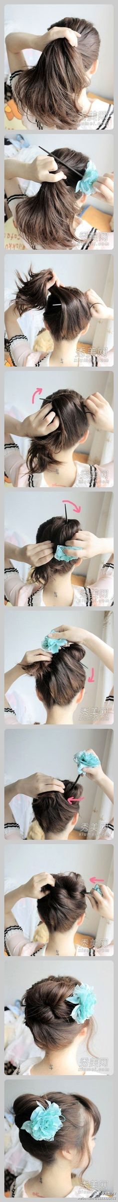 Bun using hair pin