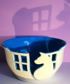 Cat in a window yarn bowl. by EarthWoolFire on Etsy, £50.00