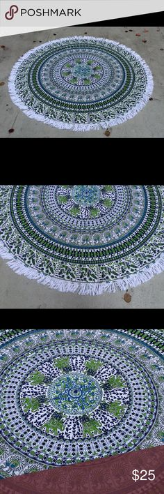Rounds tapestry bed spread couch cover Christmas Round tapestry floor mat yoga mat picnic spread Brand new.  Size: 180Cm (72inch) Diameter  Material: 100% Cotton Wash: Cold hand wash & flat dry Accessories Scarves & Wraps