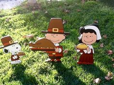 UP FOR YOUR CONSIDERATION IS THIS HAND-PAINTED THANKSGIVING PEANUTS PILGRIM SET ALL DRESSED FOR THE HOLIDAY......SNOOPY IS APPROX: 14 1/2 X 8 CHARLIE BROWN IS APPROX: 23X 15 AND LUCY IS APPROX: 21 X 10 ALL ARE 1/2 THICK. THEY ARE ALL HAND-PAINTED, DETAILED AND THEN SEALED ON THE FRONT AND BACK WITH 2 COATS OF (NON-YELLOWING) POLYSHIELD TO PROTECT THEM FROM THE WEATHER. THEY ARE HOWEVER NOT WEATHERPROOF SO PLEASE DO ...
