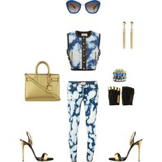 #DenimClouds by atlienfashioned on Polyvore featuring polyvore, fashion, style, FAUSTO PUGLISI, Giuseppe Zanotti, Yves Saint Laurent, Dsquared2, Ettika, Majesty Black and Miu Miu