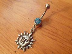 Belly Button Piercing Jewelry | Belly button ring - Body Jewelry - Sun belly ring with light blue gem