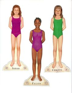 Sarah (see Paper Dolls -- Historical), Christy, and Falon:  American Girls Magazine paper dolls, Pleasant Company