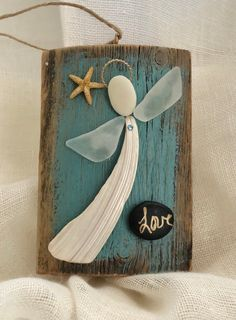 Excited to share the latest addition to my shop: Driftwood angel/seaglass angel/shell angel/faith angel/ faith Sea Glass Crafts, Sea Crafts, Sea Glass Art, Rock Crafts, Nature Crafts, Driftwood Projects, Driftwood Art, Seashell Art, Seashell Crafts