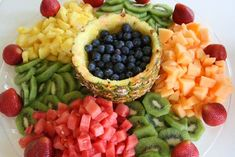 A Fresh Fruit Platter is always a favorite. Fill a half pineapple or melon with fruit, melted chocolate fondue or a dessert dip . try seasonal fruits in a variety of colors. Fruit Recipes, Appetizer Recipes, Cooking Recipes, Appetizer Dinner, Fun Appetizers, Salad Recipes, Healthy Snacks, Healthy Eating, Healthy Recipes