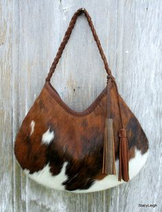 Hair On Cowhide Leather Hobo Bag with Brown Tassels by Stacy Leigh db7853da08823
