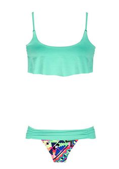 Crop top and foldover rouched bikini from Delias.