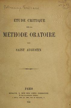 Étude critique sur la méthode oratoire dans S...