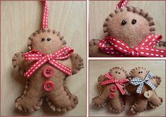 Cute Felt Handmade Gingerbread Man Hanger - red