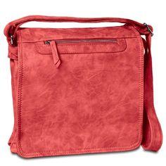 CASPAR Damen Messenger Bag   Umhängetasche   Handtasche - viele Varianten - viele Farben, Farbe:rot [816]