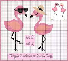 Small Cross Stitch, Cross Stitch Baby, Cross Stitch Animals, Cross Stitch Charts, Cross Stich Patterns Free, Loom Patterns, Cross Stitch Designs, Flamingo Craft, Flamingo Pattern