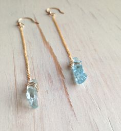 Raw Aquamarine Earrings Raw Aquamarine Jewelry Raw Gemstone Jewelry