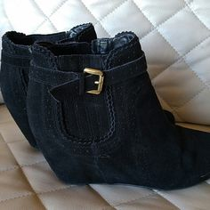 DV suede bootie wedges Super hot ! Excellent condition! DV black suede wedges DV by Dolce Vita Shoes Wedges