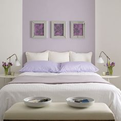 purple and white bedroom