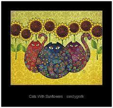 Three hypnotizing cats in a sunflower's garden.redbubble.com
