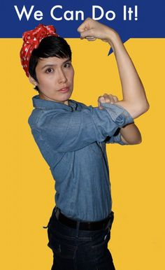 This is literally the easiest DIY Halloween costume in the book. If you have a chambray shirt, a red scarf or bandana and some attitude, you can dress up as Rosie the Riveter! | Halloween Costumes from Your Closet: Rosie the Riveter DIY Halloween Costume