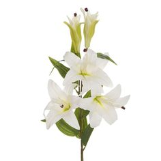 Flores artificiales online. Flores artificiales lilium blanco con hojas. Flor decorativa de aspecto natural. Alto total 99 cms. Ancho 27 cms.