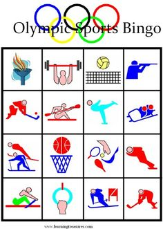 Olympic games for kids - free printable bingo boards office olympics, kids olympics, winter Olympic Games For Kids, Olympic Idea, Free Games For Kids, Olympic Sports, Games For Teens, Activities For Kids, Sports Games For Kids, Office Olympics, Kids Olympics