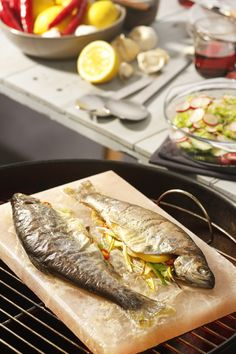Would love to try cooking on a salt block- Stuffed Trout on a Pink Himalayan salt block. No Salt Recipes, Fish Recipes, Seafood Recipes, Cooking Recipes, How To Cook Fish, How To Cook Shrimp, How To Cook Pasta, Salt Block Grilling, Himalayan Salt Block Cooking