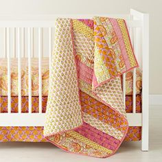 The Land of Nod | Crib Bedding: Pink Patchwork Crib Bedding in Crib Bedding