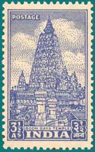 INDIAN #BODHGAYA TEMPLE STAMP OF 3 ½ ANNA IN LAKE BLUE COLOUR