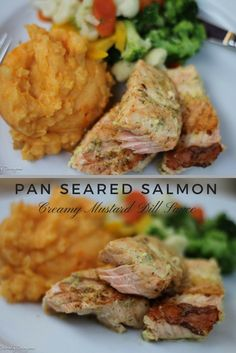 Pan Seared Salmon in a Mustard Dill Cream Sauce. An Easy and Delicious way to cook Salmon for the perfect blend of crisp and creamy Seafood Dishes, Fish And Seafood, Seafood Recipes, Dinner Recipes, Dinner Ideas, Dill Sauce, Pan Seared Salmon, Cooking Salmon
