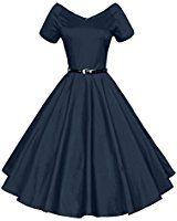 Amazon.com: Belle Poque Women Vintage Cocktail Swing Dresses 1950s Short Sleeve Hollowed Front Dress BP08: Clothing