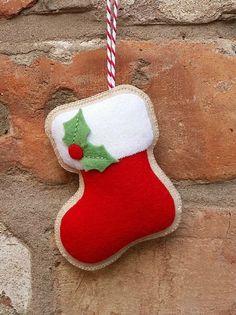 Felt Christmas stocking ornament