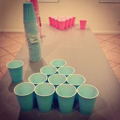 @Amanda Snelson Snelson Snelson Snelson Snelson Hughes -beer pong - with colored cups for the gender reveal