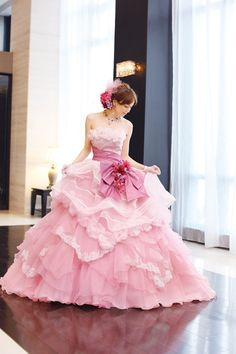 Wedding, dress, ballgown, gown, A Liliale, pink.