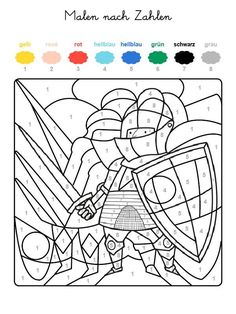 If your child has the whole motif on the free coloring page with the colors . Halloween Crafts For Toddlers, Toddler Crafts, Numero D Art, Color By Numbers, Kids Prints, Free Coloring Pages, You Are The Father, Knight, Activities For Kids