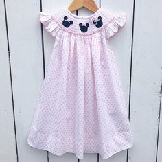 56f2bc34 Smocked Mouse Ears Bishop Dress √ Minnie Mouse Pink, Mouse Ears, Pink Dot,
