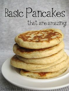 Ingredients 1 cup all-purpose flour, leveled 1 tablespoon sugar 2 teaspoons baking powder Sprinkle of cinnamon 1 cup milk 1 large egg 3 tablespoons vegetable oil Dash of vanilla  Yields about 15 mid-sized pancakes (4-5 inches) if you use 2 tablespoons of batter per cake.