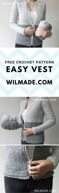 Free crochet pattern of this easy vest can be found on wilmade.com