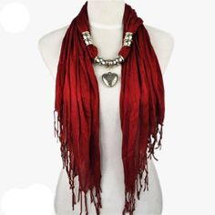 Hot Fashion Maroon Triangle Jewelry Scarf with Heart Pendant - instructions for this scarf and the popular curly crochet scarf included. Scarf Necklace, Scarf Jewelry, Fabric Jewelry, Heart Pendant Necklace, Pendant Jewelry, Men's Jewelry, Jewelry Accessories, Fashion Jewelry, Silver Jewelry