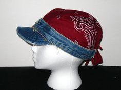 Recycled denim and bandana hat