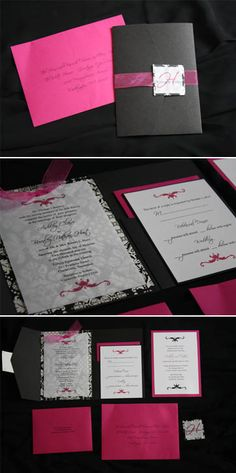A Little Something Detailed: Brocade Wedding Invitation in Hot Pink and Black