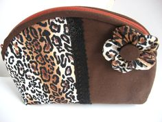 Brown Leopard Print Toiletry Pouch, Leopard Print Gadget Bag, Leopard Print Medication Pouch, Small Brown Leopard Print Cosmetic Purse by MountainAirBoutique on Etsy