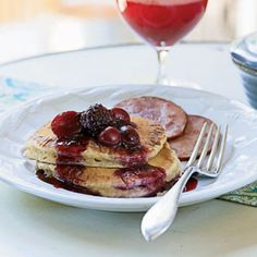 Almond-Buttermilk Hotcakes with Blackberry-Grape Sauce Recipe